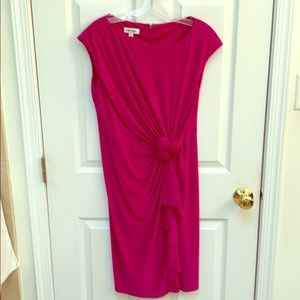 Hot pink matte jersey dress with side rouching